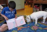 Photo of Pablo the dog reading with a boy at the libray
