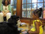 Photo of the Teddy the dog and a girl at the library