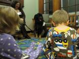 Photo of Teddy the dog listening to children read
