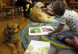Photo of Trudy the dog and a girl reading at the library