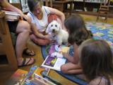 Photo of Willie the dog and sisters reading at the library