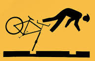 Image of bicycling accident on a sign
