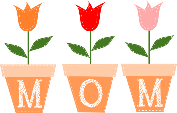 Flower pots with the letters M-O-M written on them.