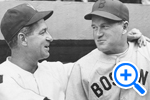 Senator's team manager Bucky Harris shakes hands with Boston Redsox manager Joe Cronin, former Senator's player and manager in the 1930s, April 19 1940. Star Collection, ©Washington Post - SELECT to zoom