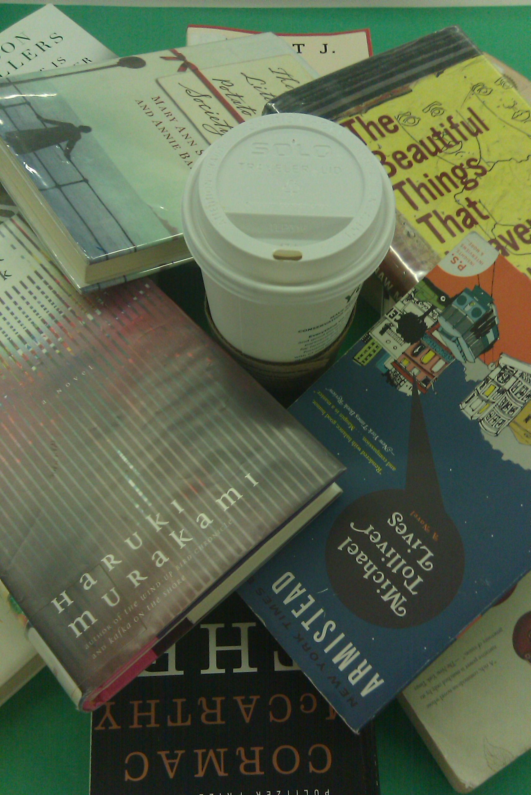 books and coffee together