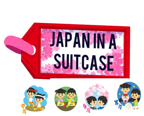 Image of a luggage tag with cartoon Japanese children participating in a variety of activities below the tag