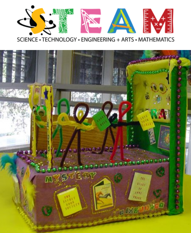 STEAM graphic and example of Mardi Gras float