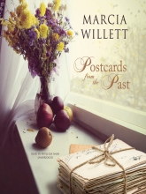 Postcards from the Past cover- postcards, two apples, two plums, a pear, and a vase of wildflowers on a windowsill