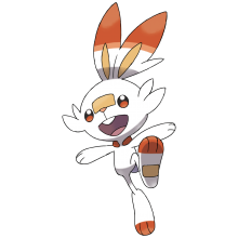 A red and white cartoon bunny creature
