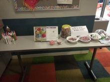 Picture of table with supplies to make tissuepaper cupcakes