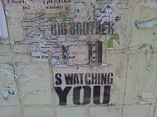 "Dystopian Image with slogan ""Big Brother is Watching You"""