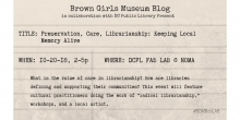 event information on library catalog card