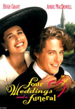 The DVD cover of Four Weddings and Funeral, showing Hugh Grant and Andie McDowell