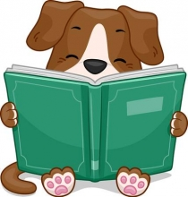 Picture of dog reading