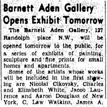Barnett Aden Gallery Evening Star newspaper article from October 15, 1943