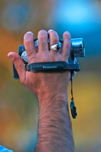 Hand holding Camcorder