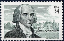 United States postage stamp issued in 2001 commemorating the 250th anniversary of the birth of James Madison