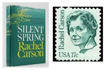 """First edition (1962) """"Silent Spring"""" next to U.S. postage stamp honoring Rachel Carson issued in 1981."""
