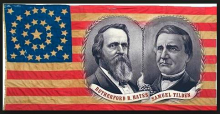 1876 political campaign banner featuring Rutherford B. Hayes (R-Ohio) and Samuel J. Tilden (D-New York)