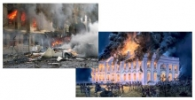 Flames and smoke; Pentagon, September 11, 2001, the White House, August, 24, 1814.