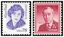 The Alice Paul stamp was issued in 1995 and the Woodrow Wilson stamp was issued in 1956.