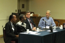 Jimi Smooth, Greg Gaskins, Blair Ruble and Dave Tevelin at the 2017 Annual Conference on Washington D.C. History Photo (c) Bruce Guthrie. Reproduced with permission of the Historical Society of Washington, D.C.