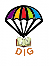 "Image of a book on a parachute with the word ""dig"" underneath the book"