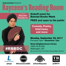 Flyer for Rayceen's Reading Room event