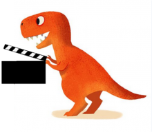 Image of Image of a T. Rex holding a movie clapper