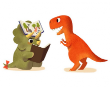 Image of two dinosaurs reading together