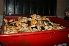 dumpster overflowing with discarded bagels