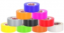 Colored rolls of duct tape pyramid