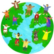 Multicultural globe illustration