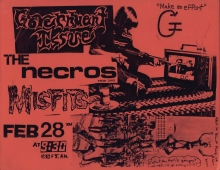Flier for a concert featuring Government Issue, The Necros, and Misfits, February 28