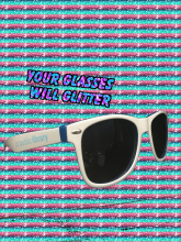 DCPL sunglasses sit on a shelf, blinged out.