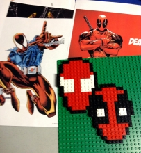 LEGO masks of the Scarlet Spider and Deadpool
