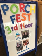Sign board reading Porch Fest, 3rd Floor