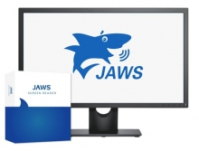 This is an image of the JAWS logo, a picture of a computer screen with a shark talking. infront of the computer screen is a box with a shark fin on it.
