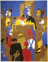 Artwork entitled Migrants Cast Their Ballots by Jacob Lawrence