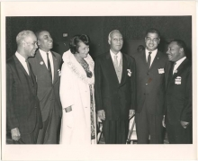 Dorothy I Height and other leaders of the Civil Rights Movement. (L toR), Roy Wilkins, Floyd McKissic, Dorothy Height, A. Philip Randolph, Whitney Young, and Martin Luther King, Jr. Council for United Civil Rights Leadership. 1963.