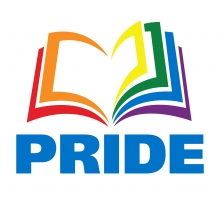 "A multicolored image of a book made out of the colors of the rainbow, reading underneath, ""PRIDE."""