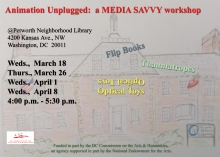 Flier for the Animation Unplugged Workshop.