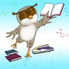 Story Time Owl Dances with books