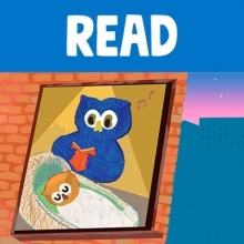 "Word ""Read"" above image of parent owl reading to baby owl in crib"