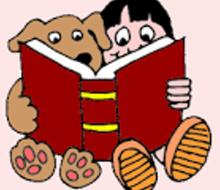 Child and Dog Sharing a Book Clipart