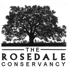 a black and white image of the silhouette of a large tree, with 'The Rosedale Conservancy' beneath