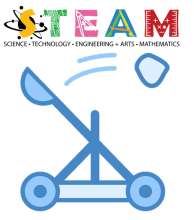 Image of STEAM graphic and a catapult