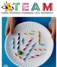 Image of STEAM graphic and a paper plate marble maze