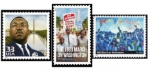 Three USPS stamps commemorating the 1963 March on Washington.