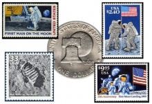 U.S. postage stamps and $1 coin commemorating Apollo 11.